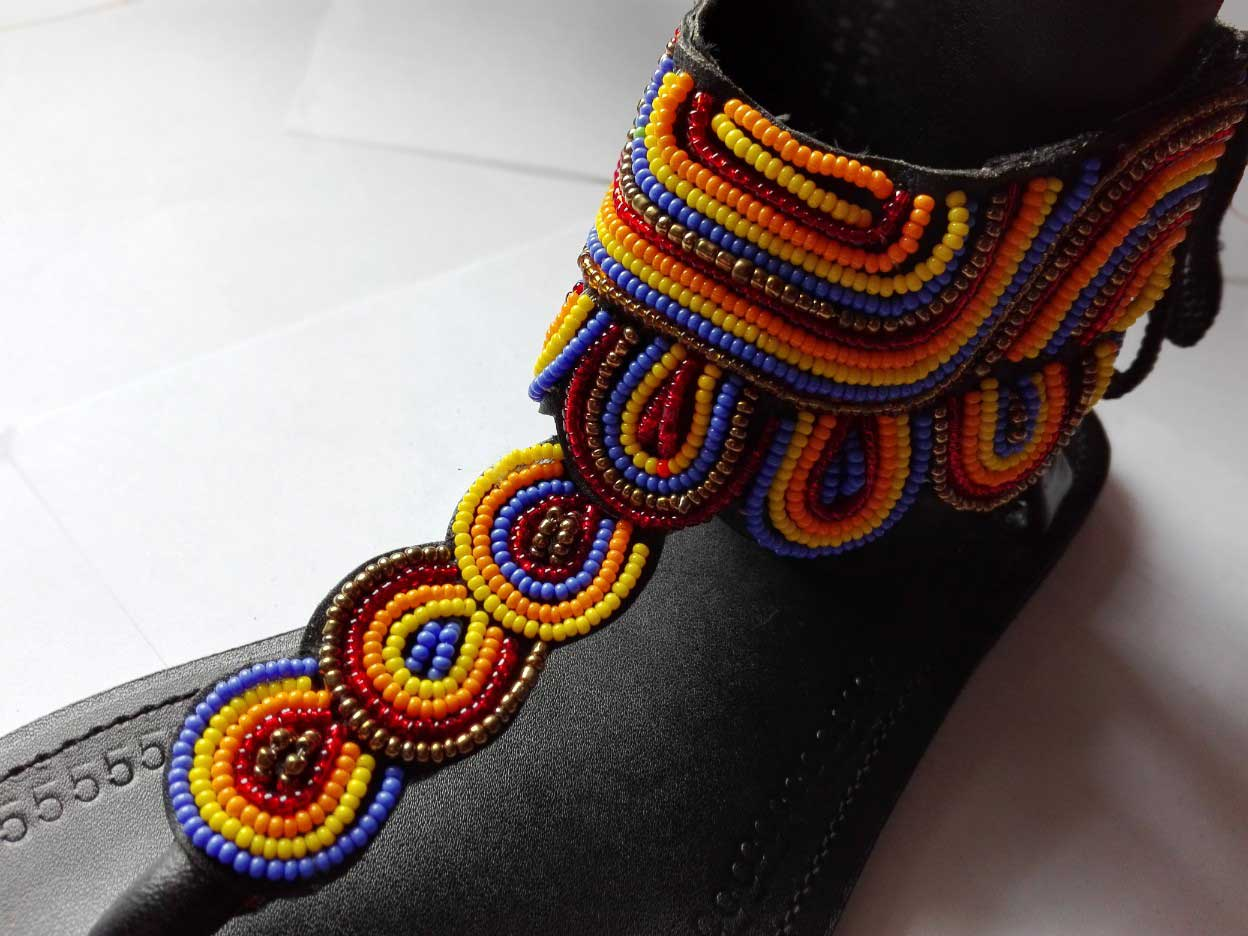 Leather and Bead Sandals Nyanza
