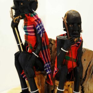 african wood statues masai