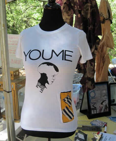T-shirt made with eco-material and a piece of fabric cut from an African rag