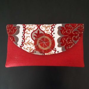African Jute Clutch Bag Red